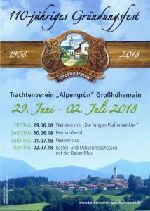 Flyer zum Fest 110 Jahre Trachtenverein